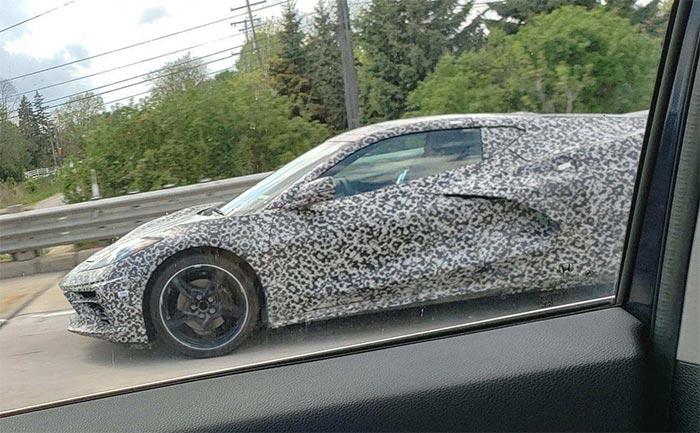 Camouflaged C8 Corvette Prototype Captured Driving Sunday in Detroit