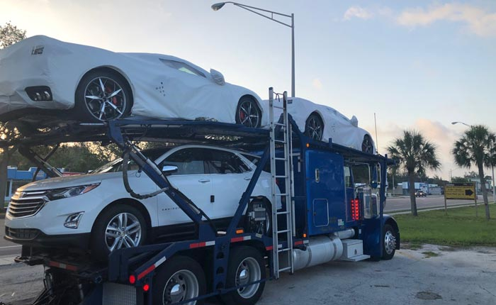 [SPIED] Three 2020 Corvettes Spotted on a Transporter in Florida