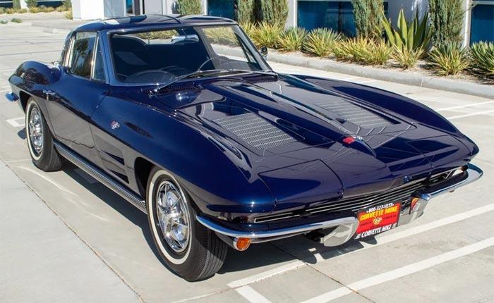 Corvettes for Sale: Daytona Blue 1963 Corvette Split-Window with Rare Factory Air