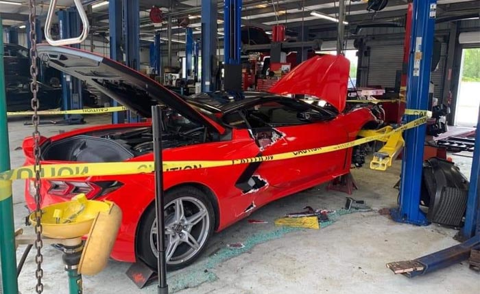 [ACCIDENT] C8 Corvette Falls Off the Lift at a Chevy Dealership