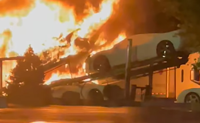 [VIDEO] Truckload of New C8 Corvettes Goes Up In Flames