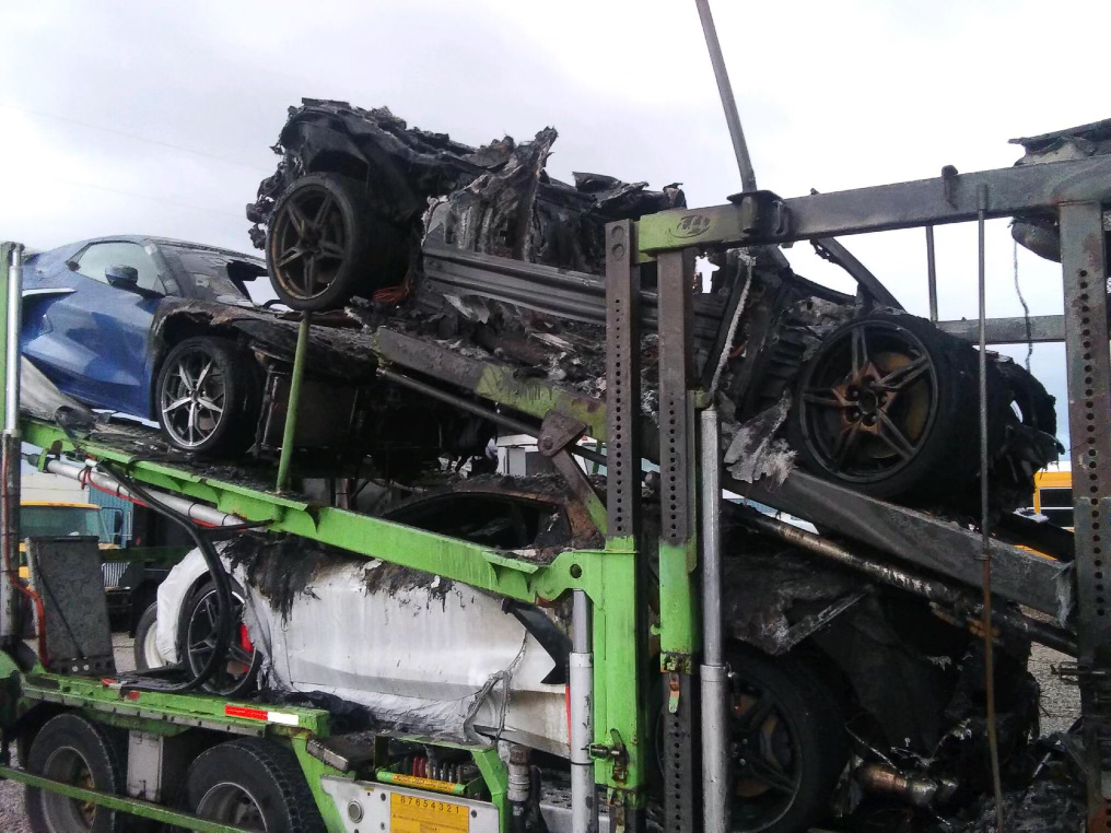 [VIDEO] A Truckload of New C8 Corvettes Goes Up In Flames