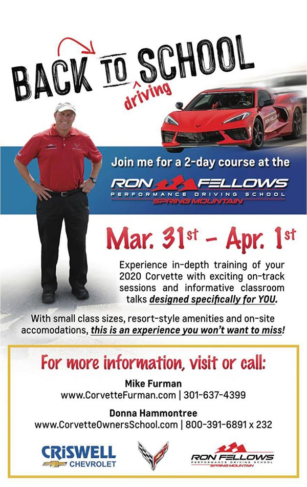 Mike Furman is Hosting a Corvette Owner's School at Spring Mountain and You're Invited!