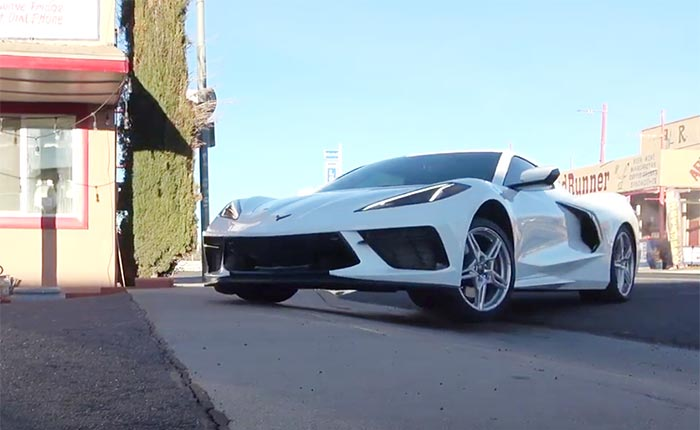 [VIDEO] C8 Corvette with Front Lift Eases into Parking Lot on Three Wheels