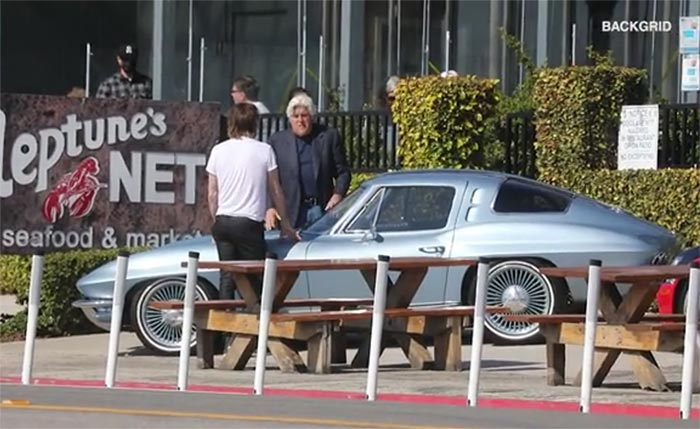 Jay Leno Stops a Rolling Lexus From Crashing Into a C2 Corvette Restomod