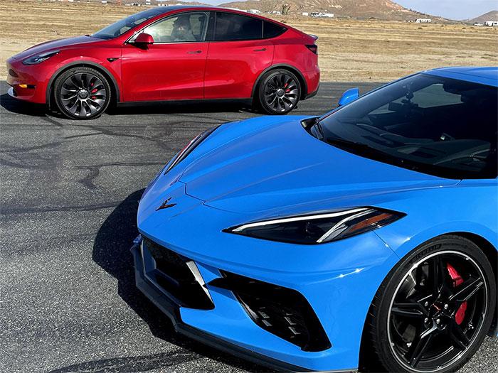 [VIDEO] Edmunds Pits the C8 Corvette Against the Tesla Model Y at the Strip