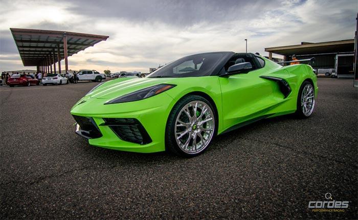 Corvettes for Sale: Customized Bright Green C8 Corvette with Forgiato Wheels