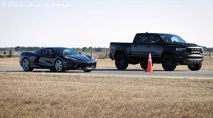 [VIDEO] Hennessey Races a C8 Corvette Convertible vs the Ram TRX and America Wins