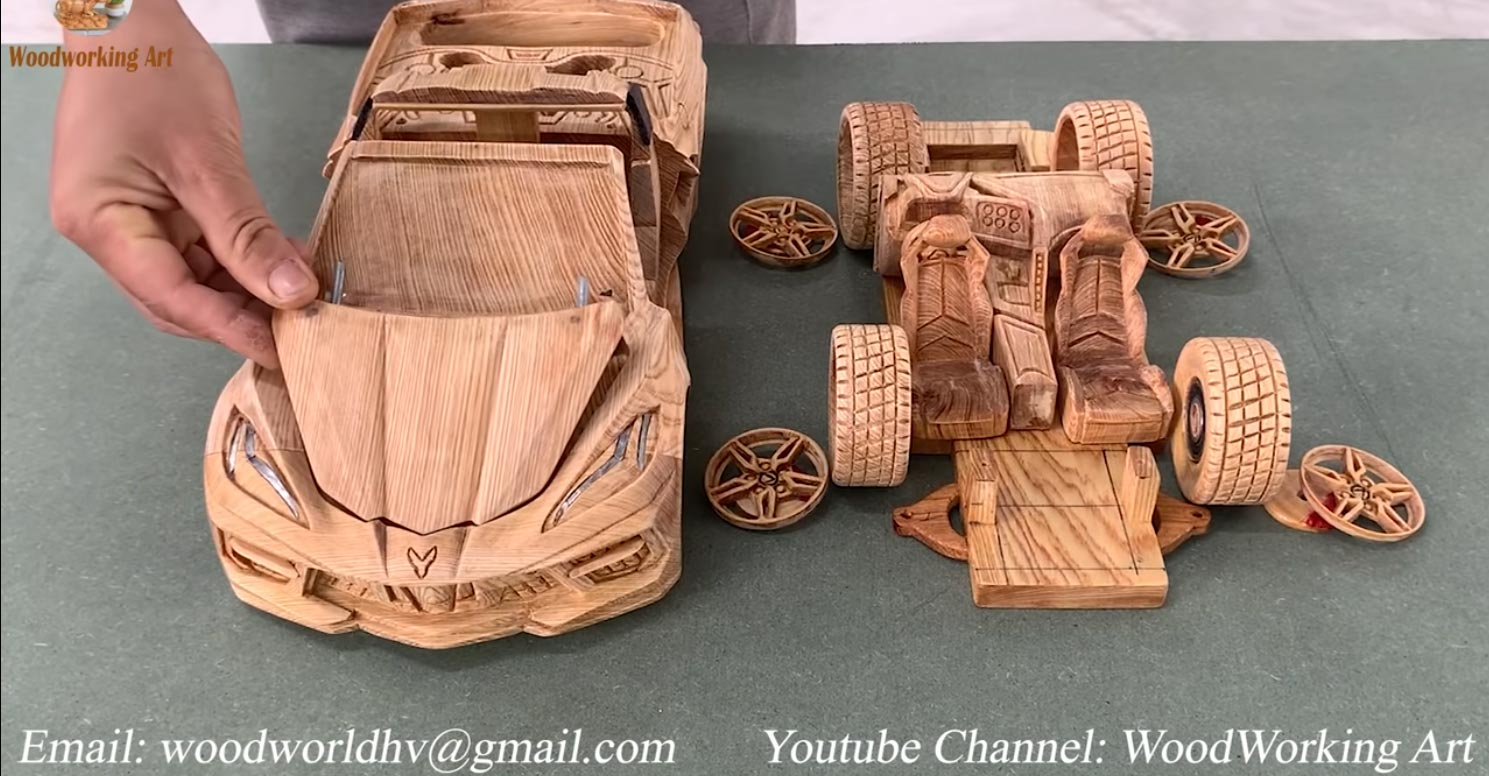 [VIDEO] This C8 Corvette Model is Carved Entirely from a Block of Wood