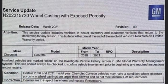 GM Issues Service Bulletin For C8 Corvettes Over Faulty Wheel Castings
