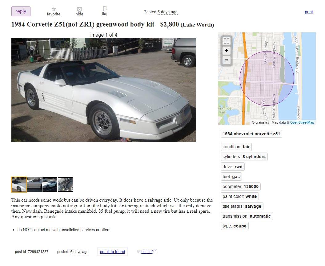 Corvettes on Craigslist: 1984 Corvette with Greenwood Aero Kit Offered for $2,800