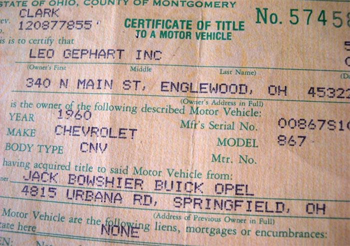 Corvettes on Craigslist: 1960 Corvette Once Owned by Classic Car Enthusiast Leo Gephart