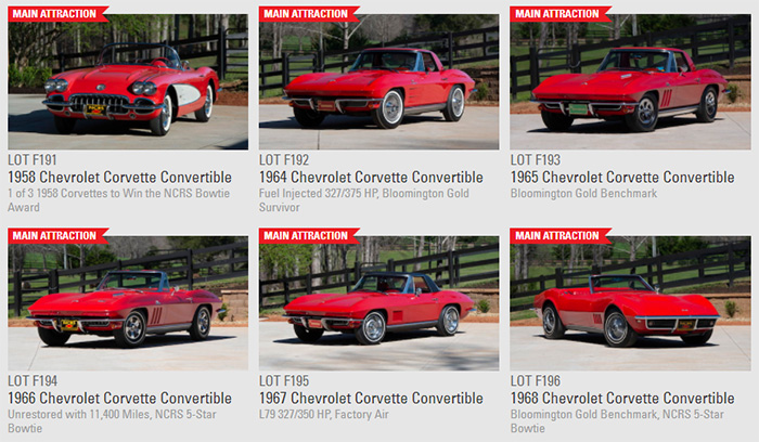 A Collection of All Red Classic Corvette Convertibles to be offered at Mecum's Indy Sale