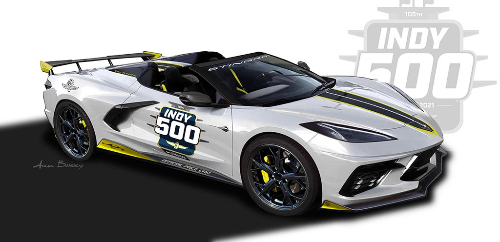Chevrolet Shares Original Renders of the 2021 Corvette Stingray Convertible Indy 500 Pace Car