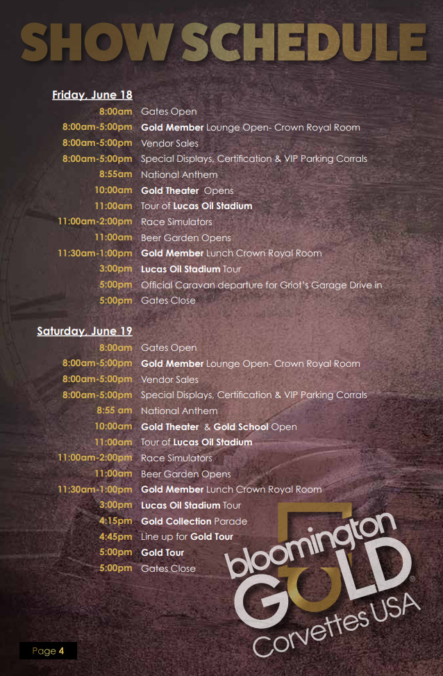 Bloomington Gold 2021 Show Schedule