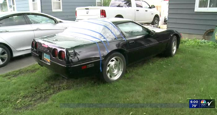 A 'Tall' Guy Smashed Up a C4 Corvette in the Middle of the Night