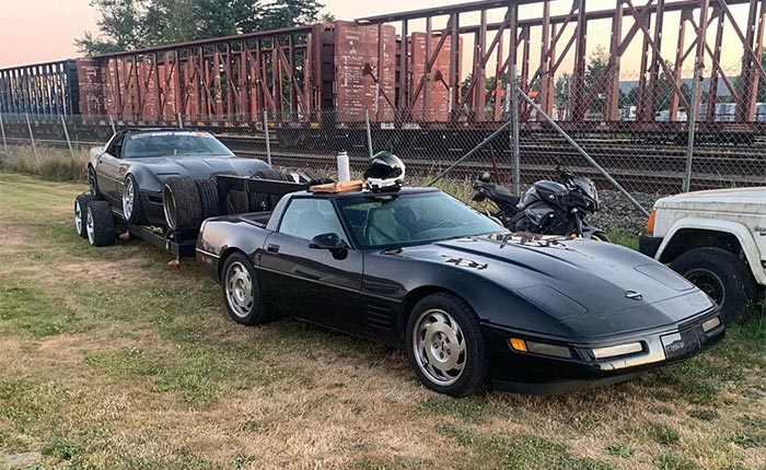 C4 Corvette With a Gooseneck Hitch Is a Perfect Rig for Towing a C4 Drift Car to the Track
