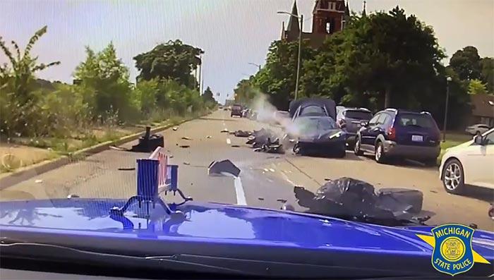 [VIDEO] Stolen C8 Corvette Crashes During Pursuit in Midtown Detroit