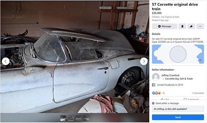 Corvettes for Sale: Barn Find 1957 Corvette Found on Facebook Marketplace