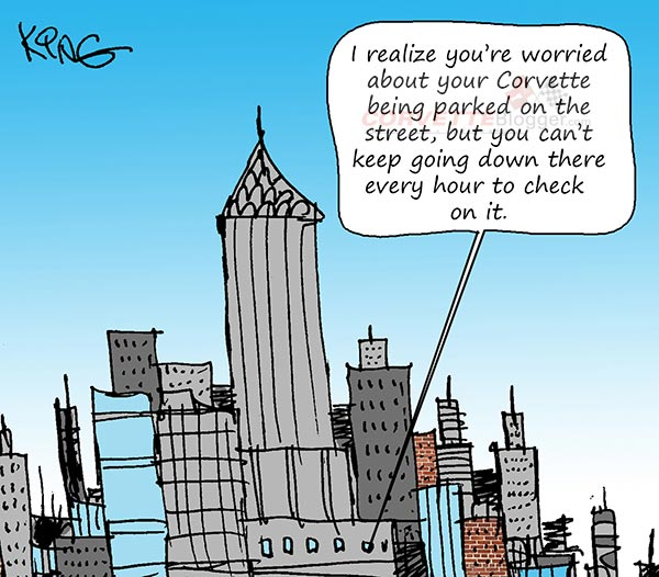Saturday Morning Corvette Comic: Parking on a Busy Street
