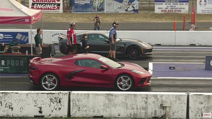 [VIDEO] C8 Corvette Stingray vs C7 Z06 Drag Race Ends in a Close Finish