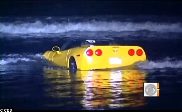 Rented Corvette Gets Driven into the Pacific Ocean