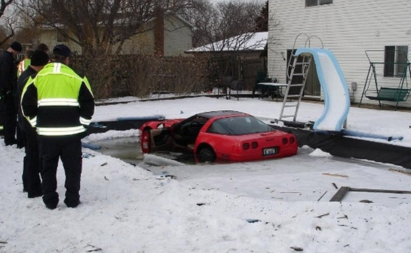 [ACCIDENTS] C4 Corvette Hits Patch of Ice, Lands in Pool