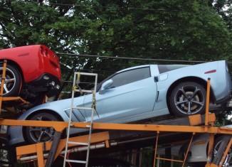 New Carlisle Blue Corvette Spotted on Car Hauler