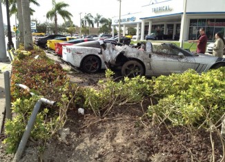 Drunk Driver Crashes Into New Corvettes at a Miami Chevy Dealership