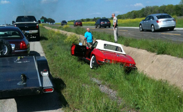 1966 Corvette Rolls Off a Trailer on a Highway at 70 MPH
