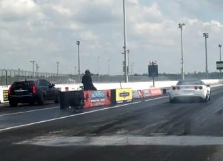 [VIDEO] Corvette ZR1 vs Cadillac V-Powered Wagon in Quarter Mile Drag Race