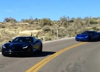[VIDEO] Black and Blue 2014 Corvette Stingrays Testing in Arizona
