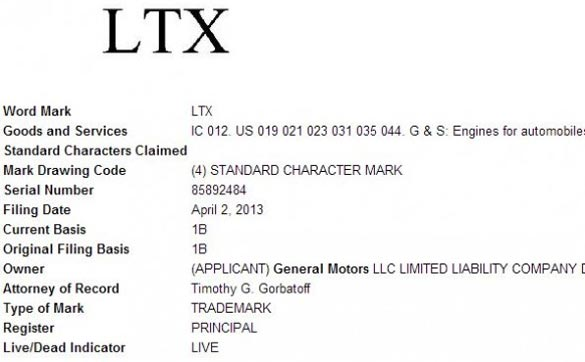GM Trademarks LT5 and LTX Engine Names