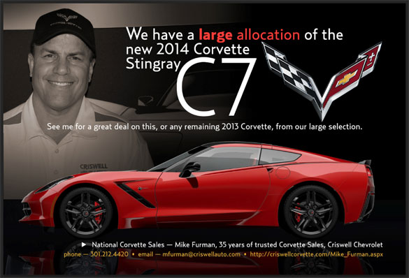 Questions about Ordering a 2014 Corvette Stingray? Contact National Corvette Seller Mike Furman