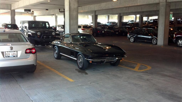 [PIC] 1967 Corvette Coupe in an Airport Parking Garage