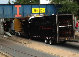 Truck Carrying Four Corvettes to Bloomington Gold Crashes into Low Bridge