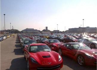 [PIC] 2014 Corvette Stingrays On Hold at the Plant