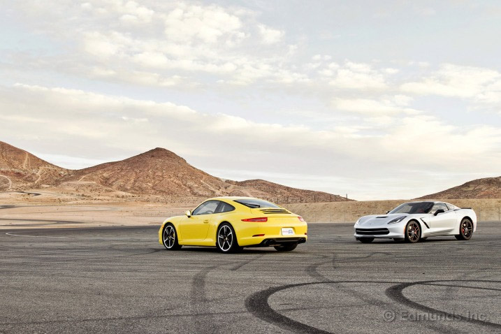 Edmunds Track Tests the 2014 Corvette Stingray vs the 2013 Porsche 911