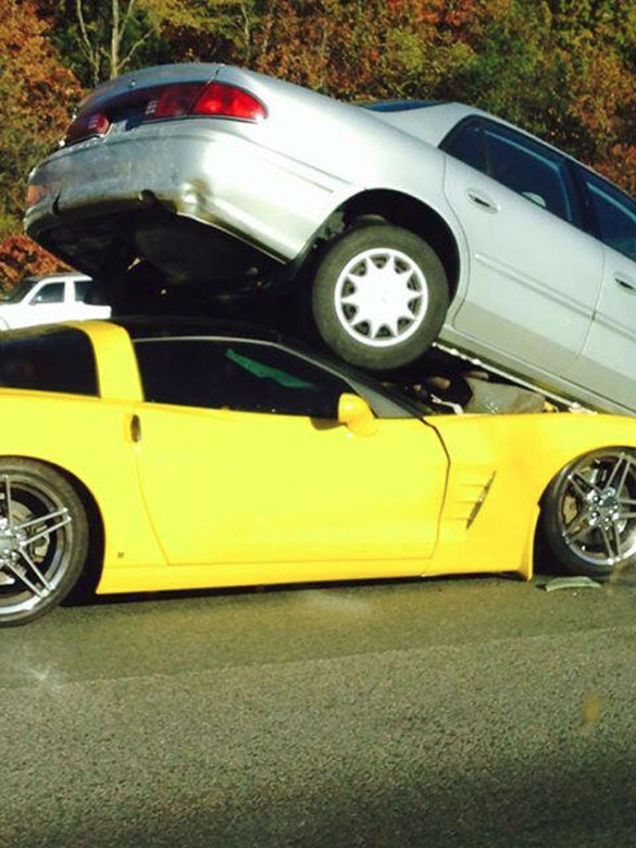 [ACCIDENT] C6 Corvette Gets Under a Sedan on the D.C. Beltway