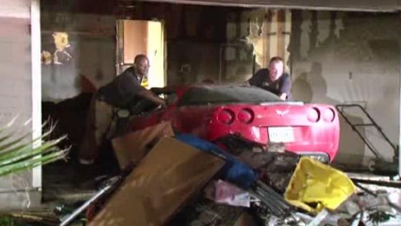 Parked C6 Corvette Sparks Garage Fire in Houston