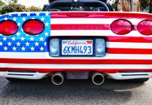 American Flag Waving Corvettes!