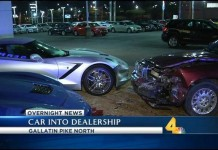 [ACCIDENT] Two Corvettes Damaged after Car Crashes Into Dealership