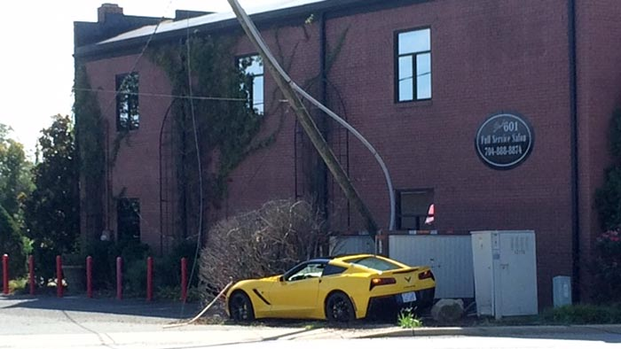 [ACCIDENT] C7 Corvette Stingray Takes Out a Power Pole at Ice Creme Shop