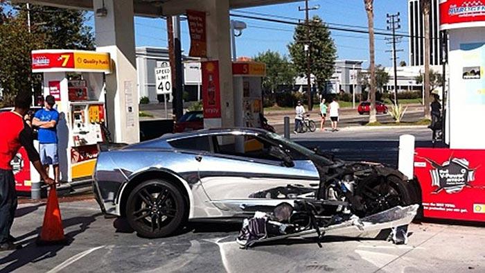 Accident Chrome C7 Corvette Stingray Crashes Into A Gas