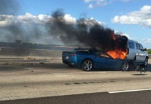 [ACCIDENT] C6 Corvette Rear Ends SUV and Both Go Up in Flames