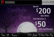 A Hauntingly Good Deal from Mid America Motorworks - Spend $200 and get a $50 Gift Certificate