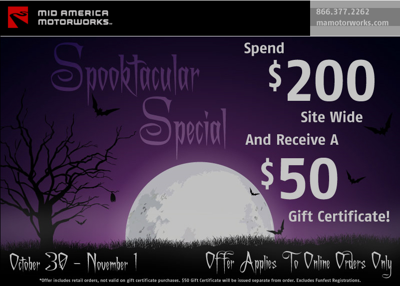 Spend $200 at Mid America Motorworks and Get a Free $50 Gift Certificate