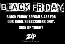 Check Your Email for Exclusive Black Friday Shopping Deals from Zip Corvette