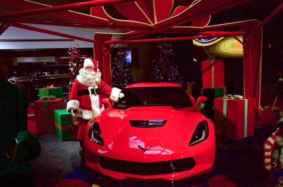 Get Your Picture With Santa and His Red Corvette Z06 at GM's Renaissance Center in Detroit