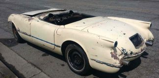 Corvettes on eBay: Stripped 1954 Corvette Barn Find May be One of 300 Pennant Blue Cars